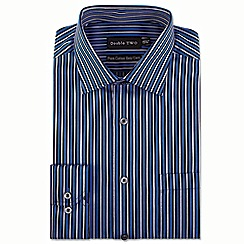 Double Two - Big and tall blue multi satin stripe formal shirt