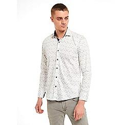 SWADE - Big and tall white floral printed long sleeve shirt