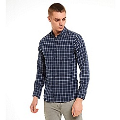 SWADE - Big and tall navy buttoned down check long sleeve shirt