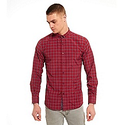 SWADE - Big and tall red buttoned down check long sleeve shirt