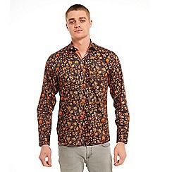SWADE - Big and tall navy floral printed long sleeve shirt