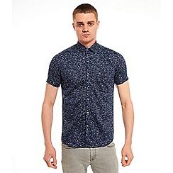 SWADE - Big and tall navy printed short sleeve shirt