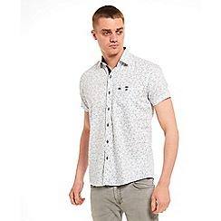 SWADE - Big and tall white printed short sleeve shirt