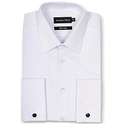 Double Two - Big and tall white marcella bib front dress shirt