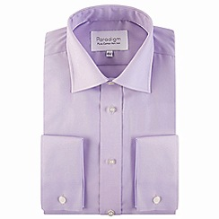 Double Two - Big and tall lilac double cuff 100% cotton shirt