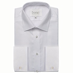 Double Two - Big and tall white double cuff 100% cotton shirt
