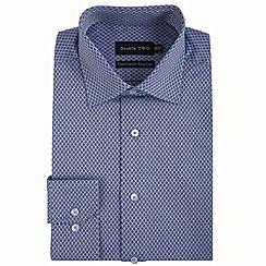 Double Two - Navy diamond dobby formal shirt
