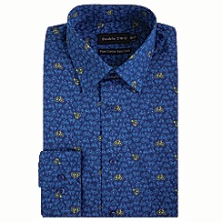 Double Two - Navy bicycle print formal shirt