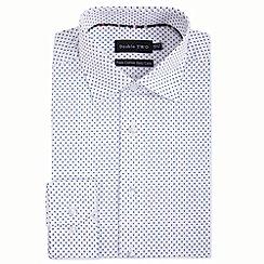 Double Two - White geometric cross print formal shirt