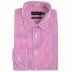 Double Two - Big and tall red Bengal stripe formal shirt