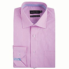 Double Two - Big and tall pink tiny stripe formal shirt