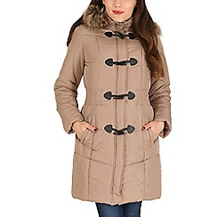 David Barry - Taupe hooded toggle coat