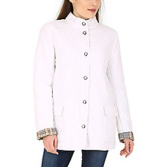 David Barry - White collarless popper jacket