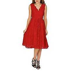 Jolie Moi - Red Scallop Lace Midi prom Dress