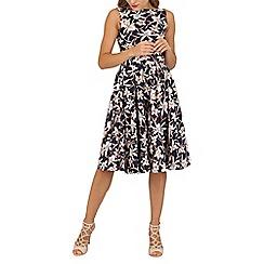 Jolie Moi - Navy 50s wrap belt full skirted dress
