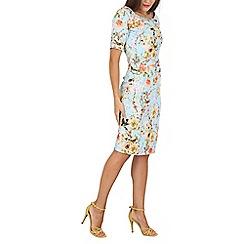 Jolie Moi - Aqua floral print pencil dress