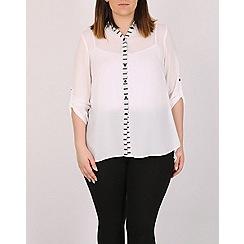 Emily - Cream stripe contrast shirt
