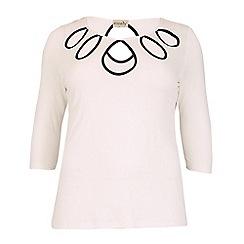 Emily - Black jersey contrast keyhole top