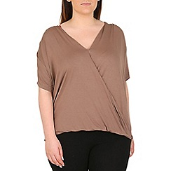 Emily - Chocolate jersey crossover pleat top