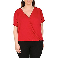 Emily - Red jersey crossover pleat top