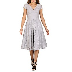 Jolie Moi - Grey cap sleeve scalloped lace dress