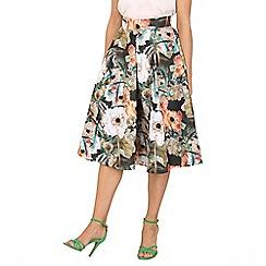 Jolie Moi - Brown floral print 50s a-line skirt