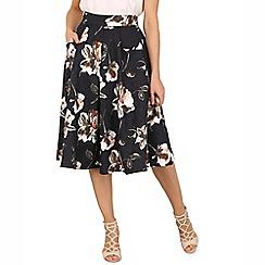 Jolie Moi - Navy floral print 50s a-line skirt