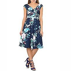 Jolie Moi - Navy floral print fit & flare dress