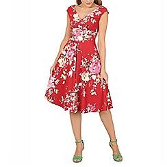 Jolie Moi - Dark red floral print fit & flare dress