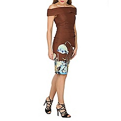 Jolie Moi - Brown printed bardot neck bodycon dress