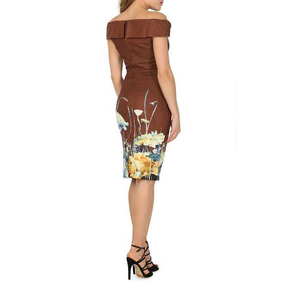 Moi Brown printed dress neck Jolie bardot bodycon x04qgn50dw