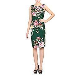 Jolie Moi - Dark green floral print ruched shift dress