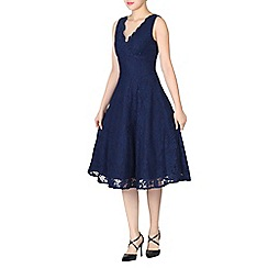 Jolie Moi - Navy scalloped v neck lace dress