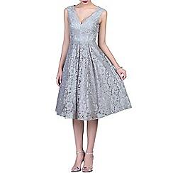 Jolie Moi - Grey scalloped v neckline prom dress
