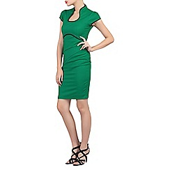 Jolie Moi - Green contrast trimmed high collar dress