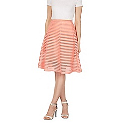 Apricot - Peach coral mesh stripe skirt