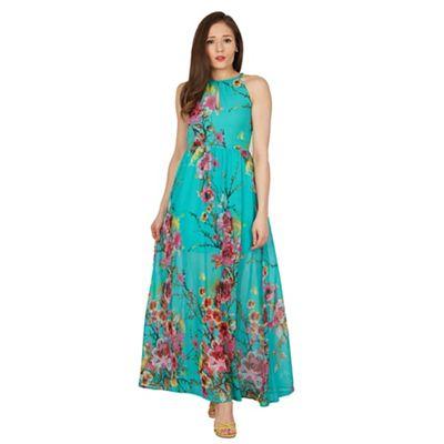 Blue Vanilla Turquoise key hole neck floral maxi dress   Debenhams