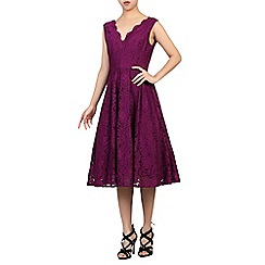 Jolie Moi - Dark purple scalloped v neck pleated prom dress
