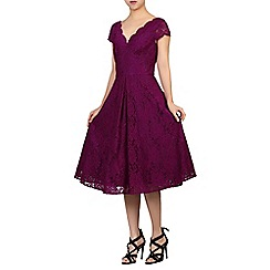 Jolie Moi - Dark purple cap sleeves scalloped lace dress