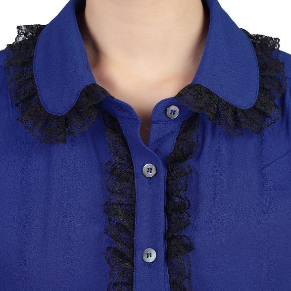 Jolie lace blouse trimmed Royal contrast Moi BwqRxOnBfr