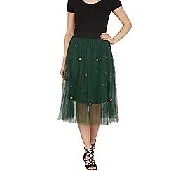 Tenki - Green bead insert pleated skirt with elasticated waist