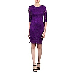 Jolie Moi - Purple scalloped lace dress