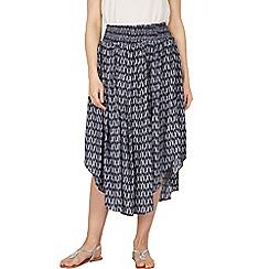 Apricot - Navy arrow print midi skirt