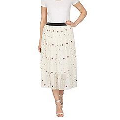 Tenki - Cream flower embroidered skirt