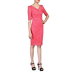 Jolie Moi - Pink 3/4 sleeves v neck ruched lace dress