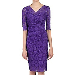 Jolie Moi - Lilac 3/4 sleeves v neck ruched lace dress