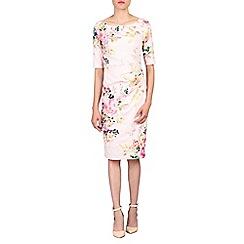 Jolie Moi - Pink retro floral print half sleeved dress