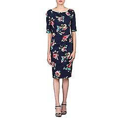 Jolie Moi - Navy 1/2 sleeves floral print dress