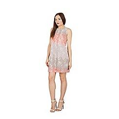 Apricot - Peach floral print swing dress