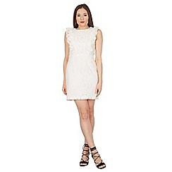 Blue Vanilla - Ivory lace ruffle front dress